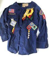BSA Vintage Cub Boy Scout Uniform Webelos Pins Patches Blue Official Costume