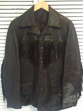 Vtg 1950's-60's Buckskin Leather Fringe Motorcycle Jacket Buckle Back Men's L