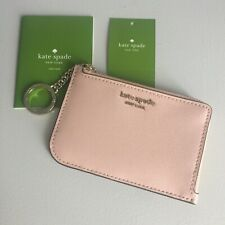 Kate Spade Cameron Medium L-Zip Card Holder Key Chain Pink Warm Vellum NWT