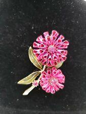 Coro Large Pink Metal Flower Brooch Pin Vintage