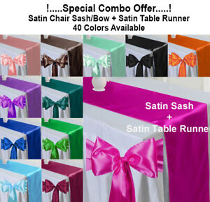 Satin Chair Sashes Bow + Satin Table Runner Wedding Party Decoration - FREE SHIP