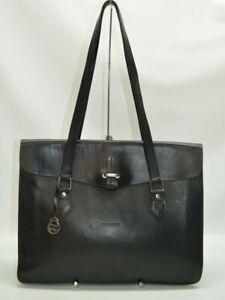 Dooney & Bourke Alto Collection Large Black Leather Flap Work Tote Shoulder Bag