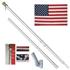 American Flag Pole Kit Wall Mount 6 Ft Spinning 3'x5' US Flag Gold Ball Aluminum