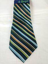 Haspel New! Men's tie dark green with stripes NWT