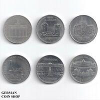 DDR - Set 6 verschiedene 5 Mark Münzen - 1971 1972 1985 1986 1988