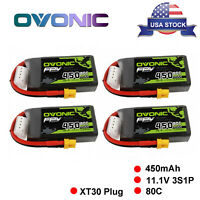 4Pcs Ovonic 450mah 3S 11.1V 80C Lipo Battery XT30 Plug For 80-130mm FPV RC Drone