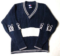 Vintage Tommy Hilfiger Men's Navy Blue and white Heavy Sweater SZ S