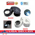 40X Magnifying Loupe Jewelry Eye Glass Magnifier LED Light Jewelers Loop Pocket