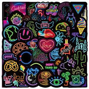 50pcs Waterproof Neon Light Cartoon Graffiti Stickers Decals Laptops Skateboard
