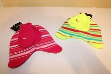 NWT NIKE BABY GIRLS 2 PC STRIPED WINTER HAT & MITTENS LIME YELLOW 12-24M