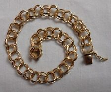 Vintage 14k Yellow Gold DOUBLE LINK STARTER CHARM BRACELET 7.25 In 11.8 G #17059