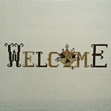 L8 Completed Cross Stitch Sampler Welcome on Linen beautiful hand work