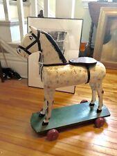 Vintage Hand Carved Folk Art Horse on Wheels Original Paint