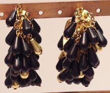 grande boucles d'oreilles clou vintage anneau perles poire couleur noir or 3684