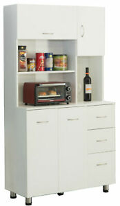 New Basicwise Kitchen Pantry Storage Cabinet with Doors and Shelves, White