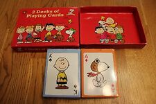 PEANUTS & SNOOPY DECKS (2) OF PLAYING CARDS adult owner MINT IN BOX
