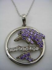 DOLPHIN PENDANT IN FRAME WITH PURPLE & WHITE CUBIC ZIRCONIA IN STERLING SILVER