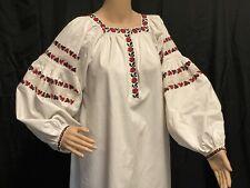 Large Vintage Ukrainian Vyshyvanka Hand Embroidered Shirt Dress Women Linen M-XL