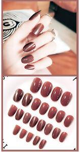 24pcs Cat Eye False Nails Short Fake Nails Art Full Cover Nails for Women