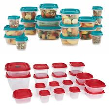 Rubbermaid Easy Find Vented Lids Food Storage Containers 38-Piece Set, Red/Teal