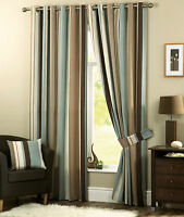 Duck Egg Beige Brown Cream Vertical Stripes -Lined Curtains Eyelet Ring Top