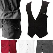 Mens Waistcoat Formal Business Slim Chain Dress Vest Suit Tuxedo Casual Coat Top