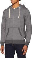 JACK & JONES Originals Zip Hoodie Hooded Cotton Sweatshirt Top Grey Melange