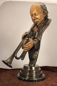 """Miles Davis Bronze Bust 24"""" Jazz Trumpeter Statue Marble  Base"""