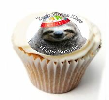 Sloth Birthday Cupcake Toppers x20 Rice Paper or Icing, Personal. 95