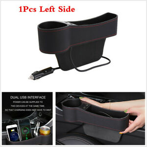Left Side Car Seat Gap Storage Box Crevice Organizer Pocket Dual USB Cup Holder