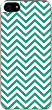 iPhone 5 Teal Green Chevron Designed Sticker on Hard Case Cover