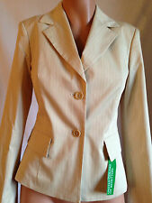 UNITED COLORS OF BENETTON STRETCH BEIGE STRIPED COTTON BLAZER JACKET 40 / 10 NWT