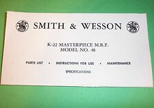 SMITH & WESSON K-22 MASTERPIECE MO. N0. 48 GUIDE MANUAL