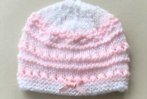 New Hand Knitted Hat for a Newborn Baby in White & Pink