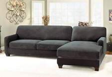 Sure Fit Slipcover Stretch Piqué 5pc Sectional Slipcover - Right Chaise Black