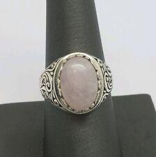 Quartz Filigree Ring Size 9.25 Artisan Sterling Silver And Rose
