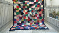 Vintage Beni Ourain Rug Moroccan Boucherouite Area Rug Handmade Rug Carpet