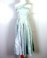 vtg Rockabilly 50s Mid Century Asymmetric Prom Circle Dress Shiny Silver Blue S