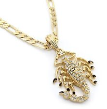 "Men 14k Gold Plated Scorpion King M2 Pendant Hip-Hop 24"" Figaro Chain"