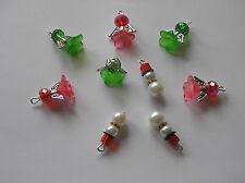 9 x  Angels & Snowmen Christmas Charms Glass Crystal/Pearl Beads XMAS L@@K