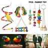 7Pcs Parrot Toys Hanging Swing Bird Harness Cage Toy Parakeet Cockatiel Budgie~