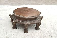 ANTIQUE 1800s HAND CARVED COPPER 8 LEGS & PARROTS ENGRAVED STAND-MUSEUM PIECE