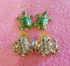 Jewelry Lot ADORABLE CRYSTAL Frog / Turtle Pierced  EARRINGS White Green Gold