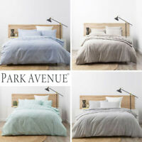 PARK AVENUE Washed Chambray 100% Cotton Quilt Duvet Cover Set 4 Colours NEW