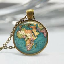 Map Necklace Globe Jewelry Africa Travel World Map Art Pendant Bronze