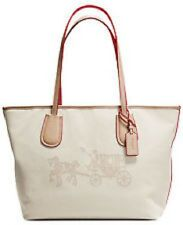 New COACH EMBOSSED 35337M  HORSE CARRIAGE TAXI ZIP TOTE BAG KHAKI CANVAS CREAM