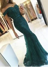 Dark Green Off-the-Shoulder Lace Appliques Mermaid Evening Gowns Prom Dresses