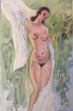 2v7 Aquarell Gemälde Mädchen Akt E. Schmidt van der Velde Paris Düsseldorf ~1930