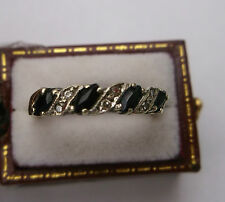 Ladies 9ct Gold Sapphire & Diamond Ring W1.5g Stamped Size M 1/2 Quality Ring