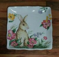 "MAXCERA Spring Collection Bunny Floral 11"" Square Ceramic Plate Platter NWT"